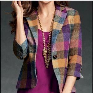CAbi Happy Blazer Plaid Size 6 Wool Blend
